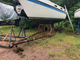 26' Tanzer sailboat on a yard trailer