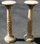 Pair Veined Beige Marble Columns Pedestals