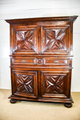 4 Antique Furniture Items: Table Chest 2 Cabinets