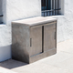 Raw Steel Cabinet with Travertine Top