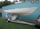 Soling sailboat on trailer