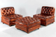 2 LEATHER CLUB CHAIRS AND 1 OTTOMAN