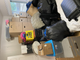 20 boxes, one stationary bike, one sectional